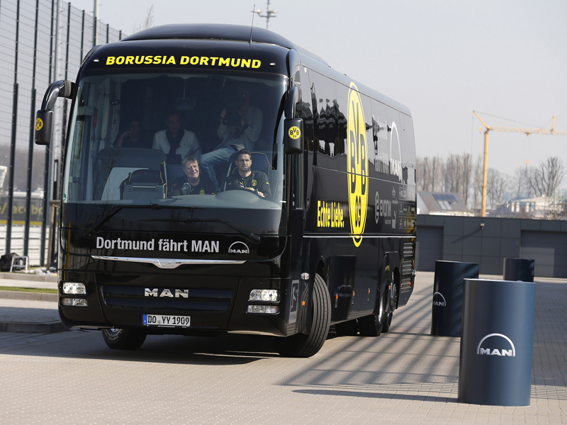 Sebastian Kehl at the wheel with Christian Schulz (BVB team bus driver)