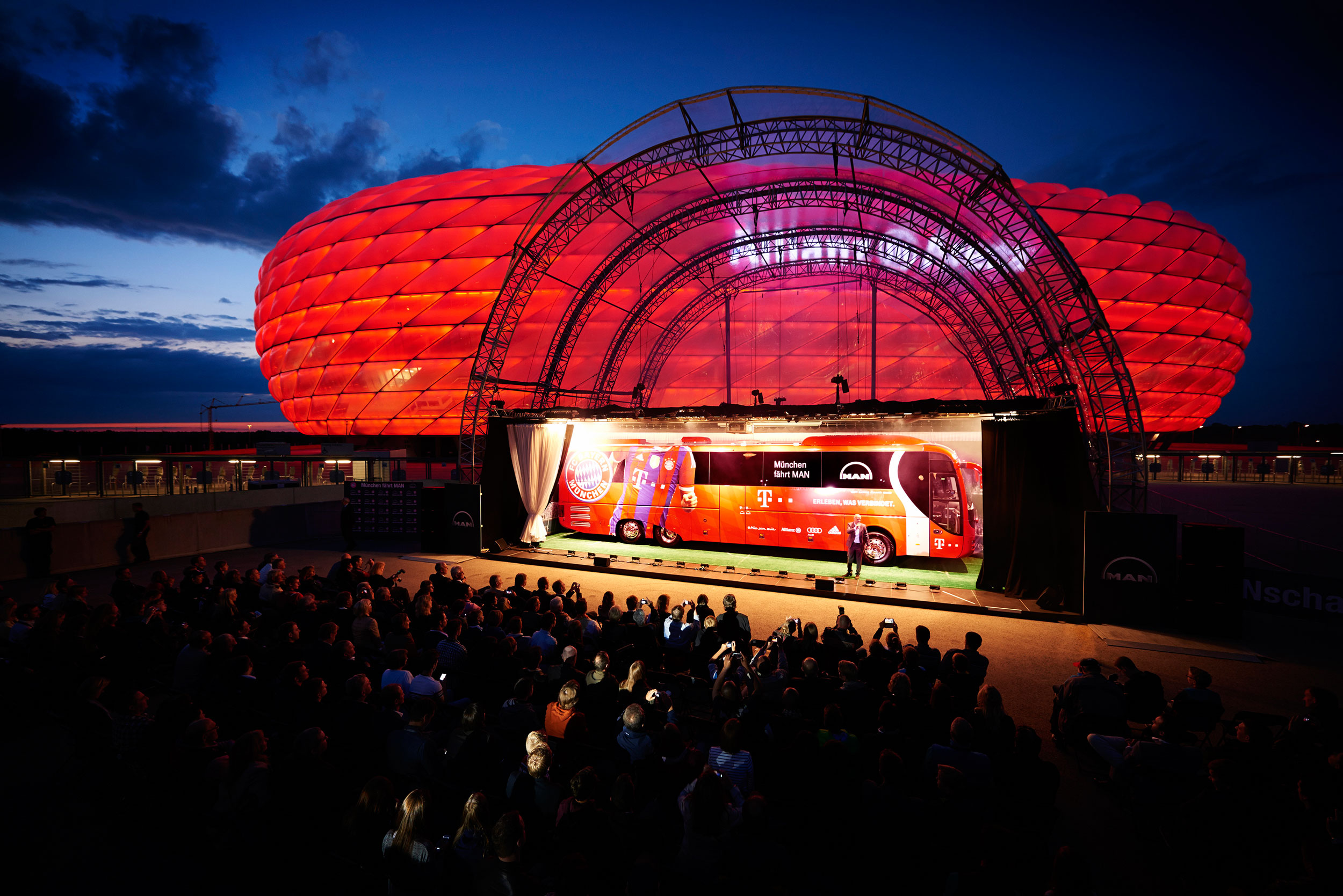 New FC Bayern Munich team bus in front of the Allianz Arena