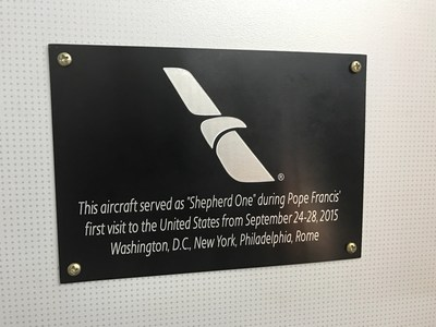 Plaque Commemorating the American Airlines aircraft used by Pope Francis during his visit to the United States and used today for the inaugural flight to Rome from DFW Airport.