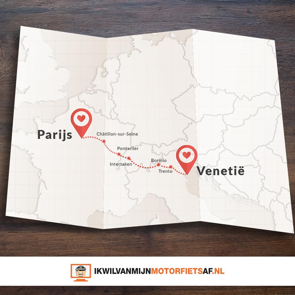 Motor route Venetie Parijs