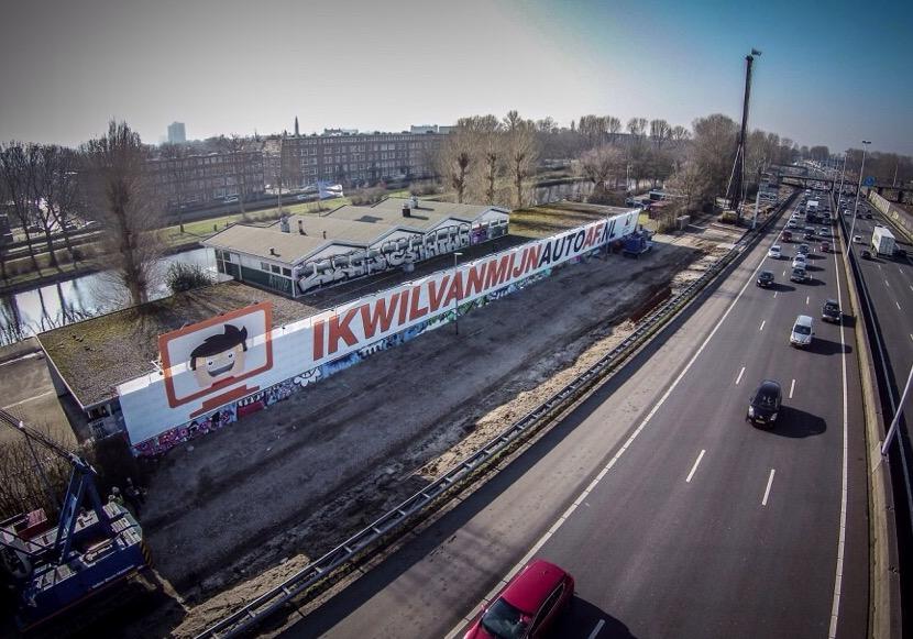 Reclamemast ikwilvanmijnautoaf.nl snelweg