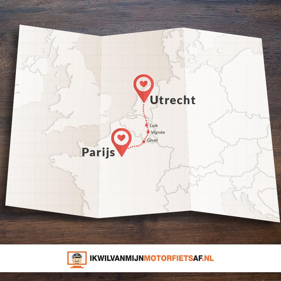 Motor route Parijs Utrecht