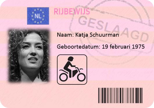 Katja Schuurman motorrijbewijs