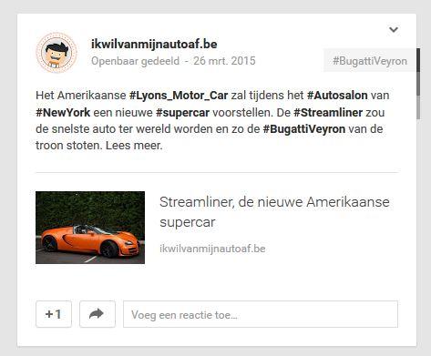 Streamliner populair op Google+