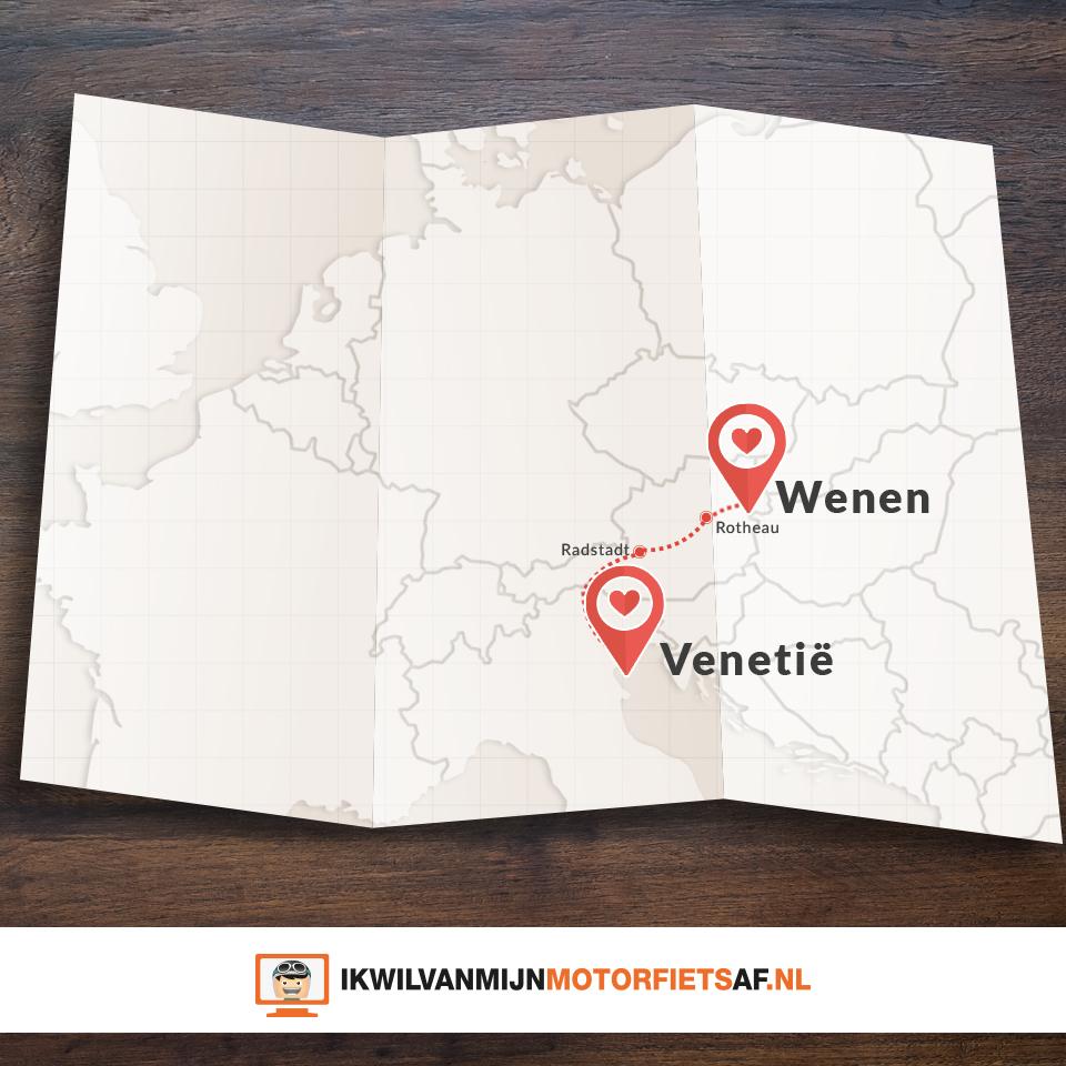 Motor route Wenen Venetië