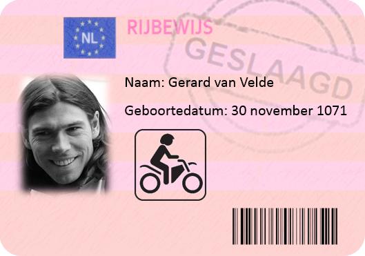 Gerard van Velde motorrijbewijs
