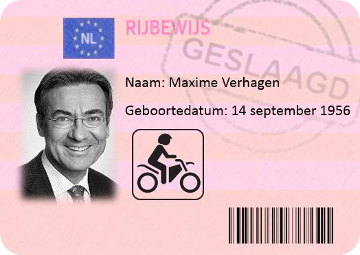 Maxime Verhagen motorrijbewijs