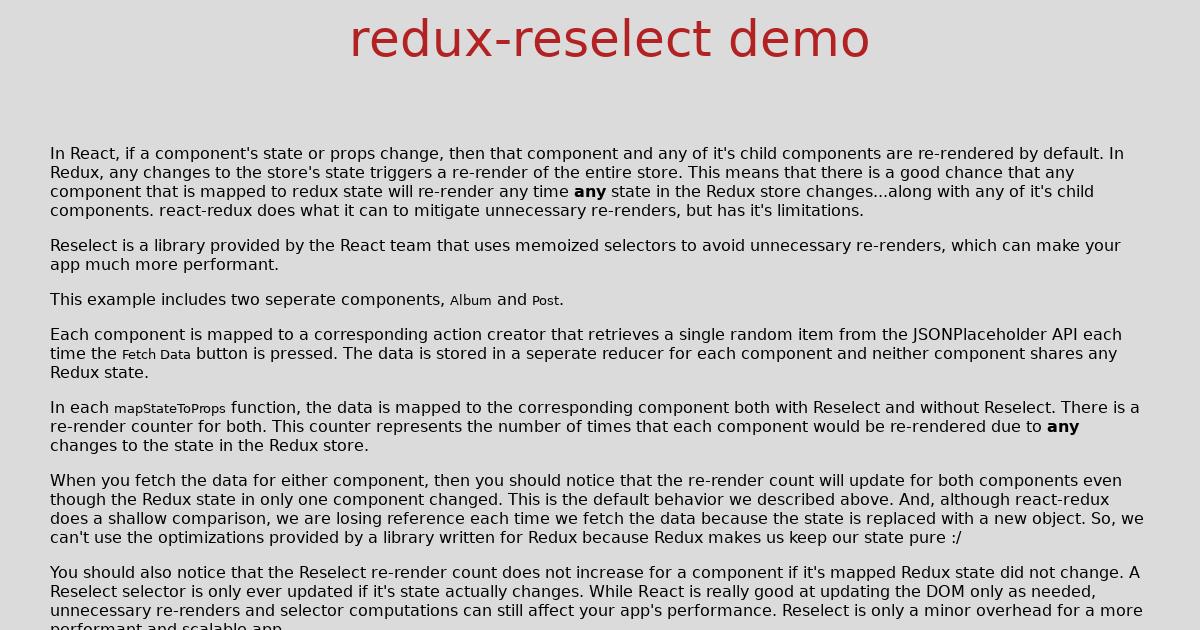 redux-reselect demo - CodeSandbox