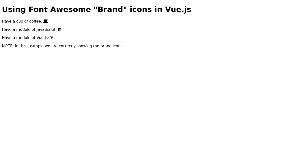 Vue js + Font Awesome #5 -- Showing brand icons using Vue js
