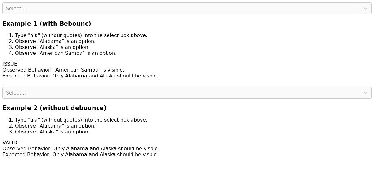 React Select Async Debounce Example - CodeSandbox