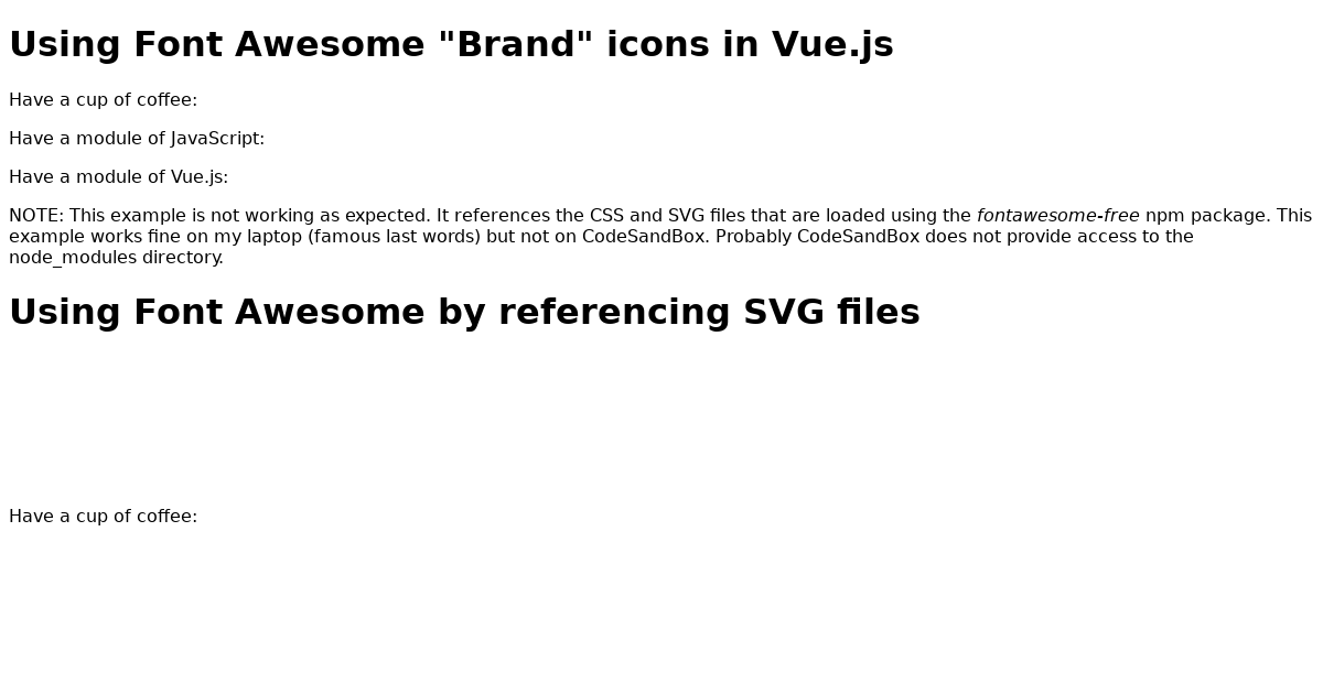 Vue js + Font Awesome #4 -- Try showing brand icons using CSS from