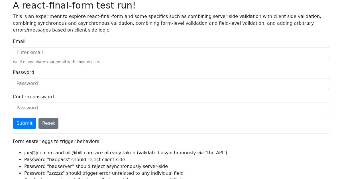 react-final-form test run - CodeSandbox
