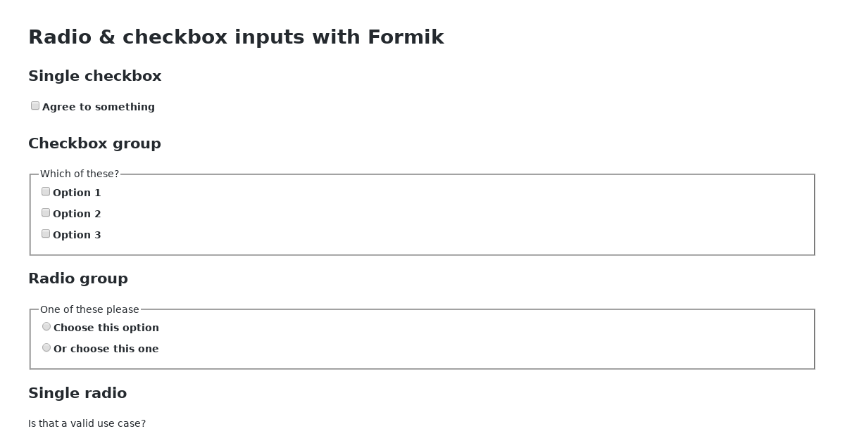Formik radio and checkbox inputs - CodeSandbox