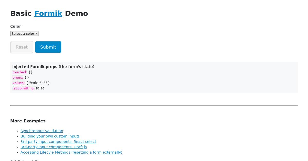 Formik Select Example - CodeSandbox