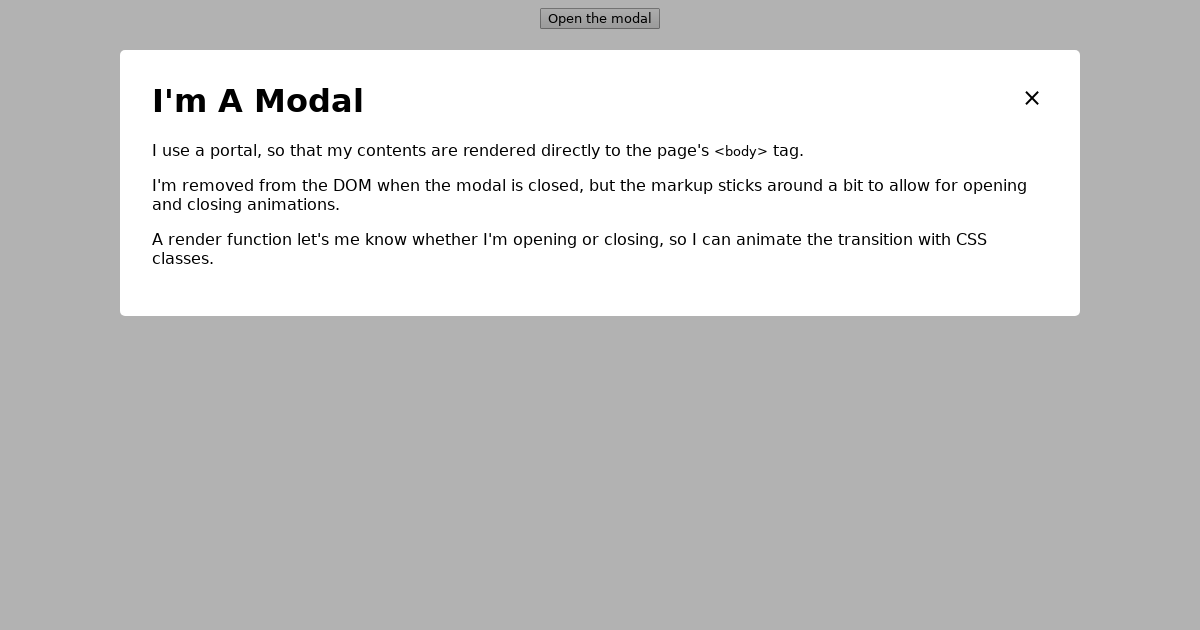 Raw react animated modal w/ portal - CodeSandbox