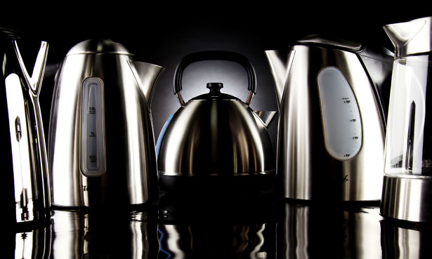 Kettles lined up