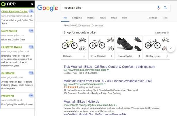 Qmee paid search results mountain bike