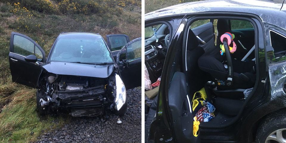 Dramatic fire rescue photos show how a car seat can save a baby's life