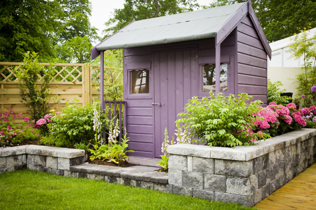 Garden shed in summer