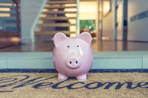 piggy bank on welcome mat