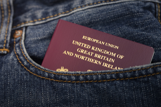 A stock photo of a British Passport in a pocket. Photographed using the Canon EOS 5DSR.