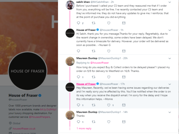 House of Fraser customers complain on Twitter about late deliveries