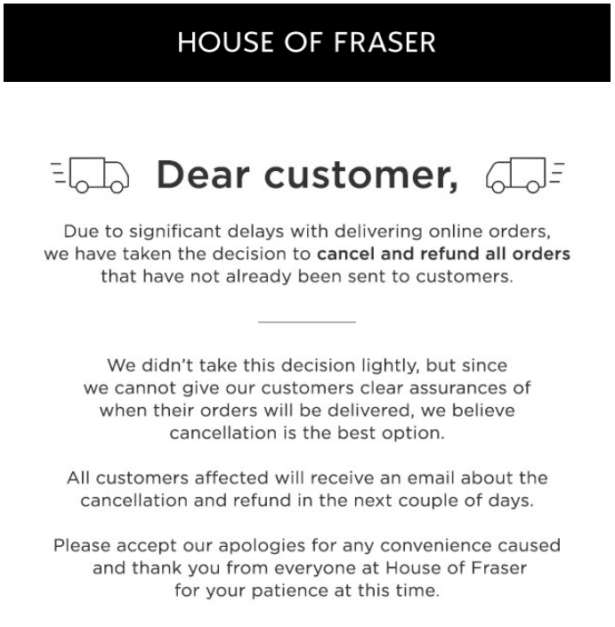 Email from House of Fraser cancelling online order