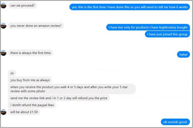 Fake reviews example