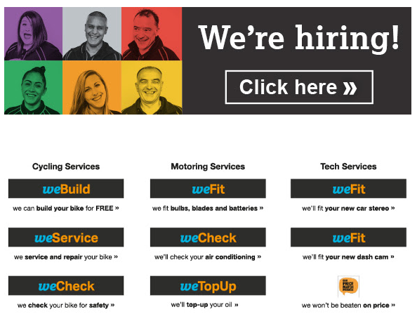 Halfords products and services banner in e-receipts