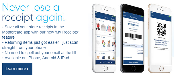 Mothercare app promotion in e-receipt