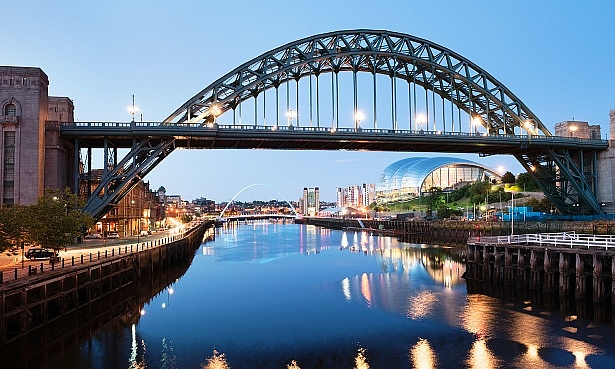 Newcastle's Tyne Bridge lit up at night