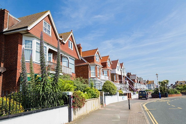 Mainstreet and houses in Eastbourne, Sussex, United Kingdom