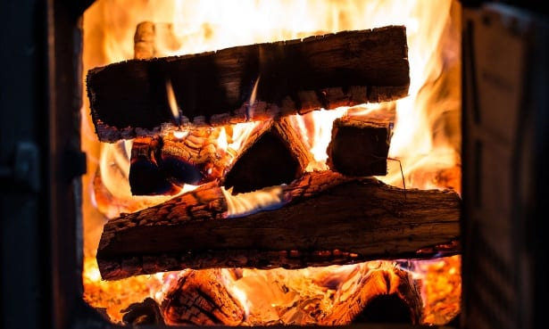 Wood burning on a stove