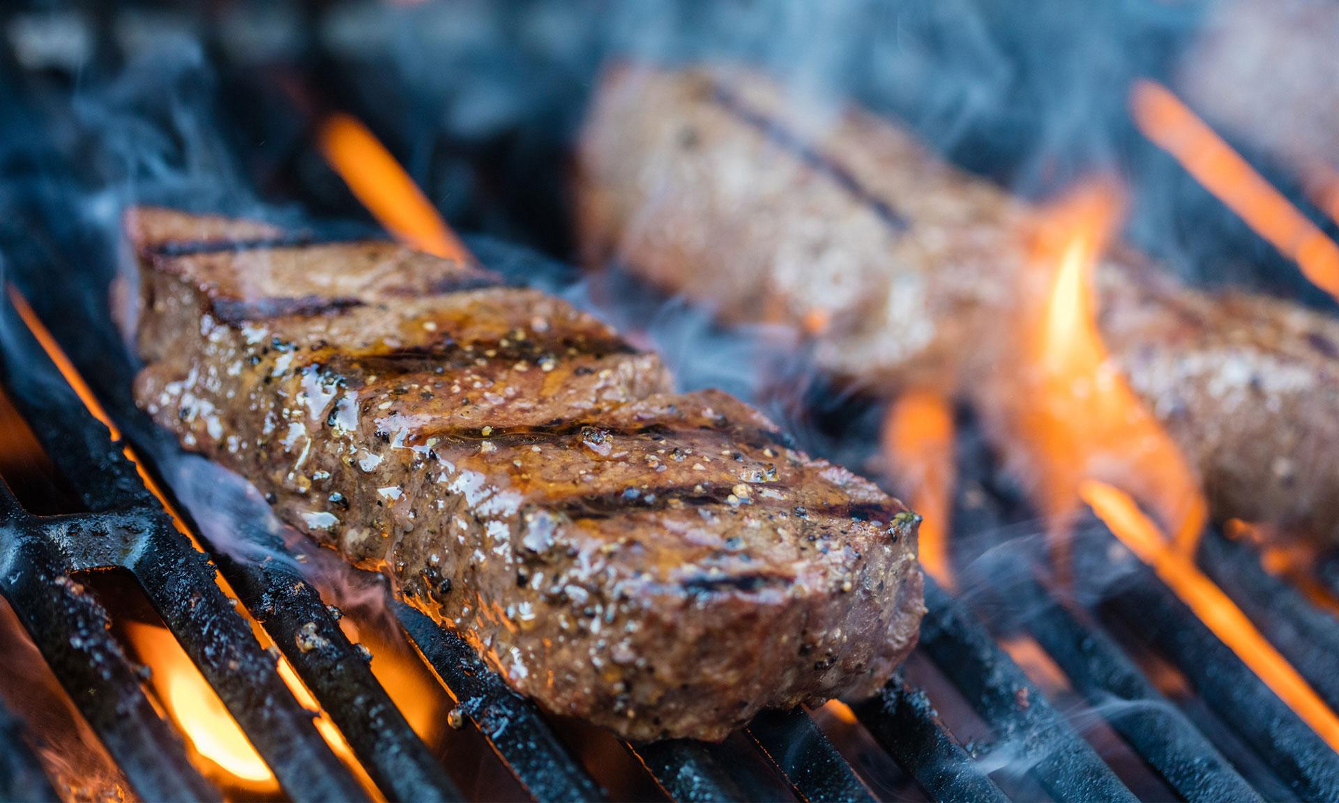 steak on a bbq