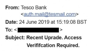 A fake email purporting to be from Tesco Bank.