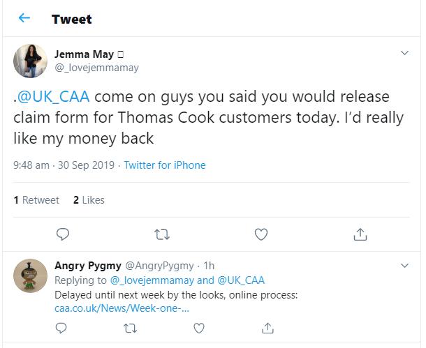 Thomas Cook refund delay tweet