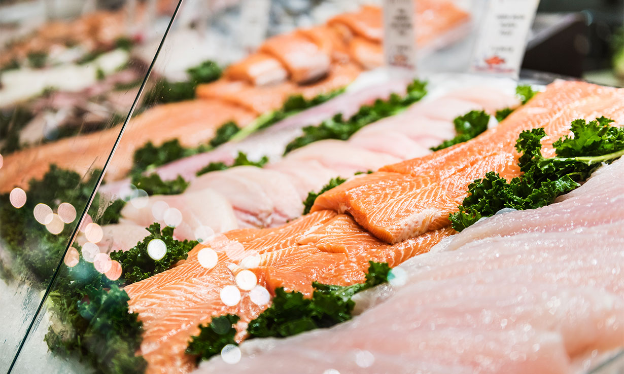Salmon on a fish counter