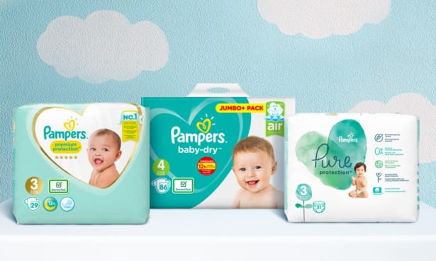 Line up of Pampers nappies including Pampers premium protection, Pampers baby-dry and Pampers pure protection