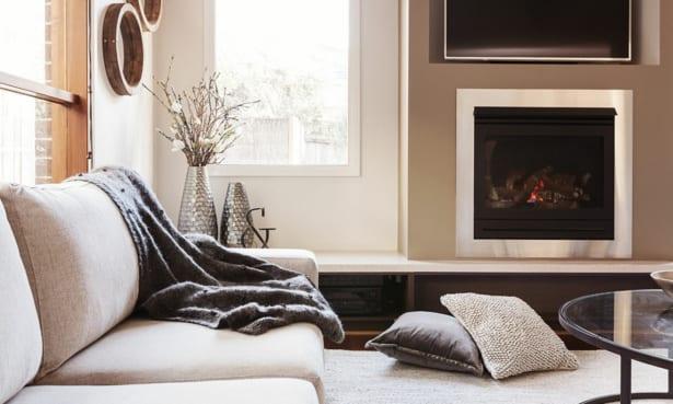 Gas fire in a neutral modern living room