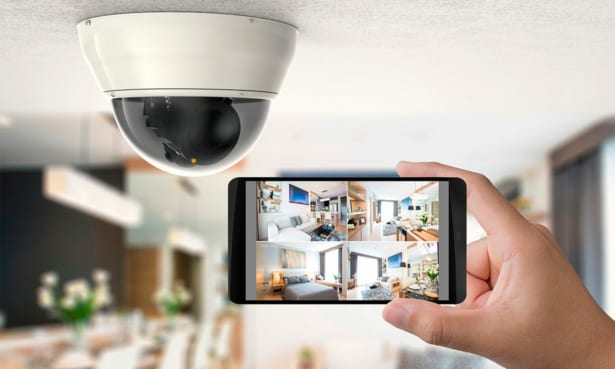 Home security camera footage being viewed on a mobile phone