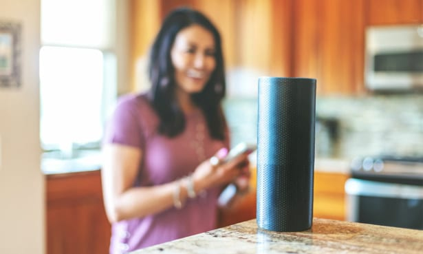 person giving command to a smart speaker
