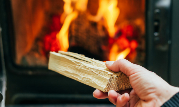 Dry log being held about to be added to a wood-burning stove