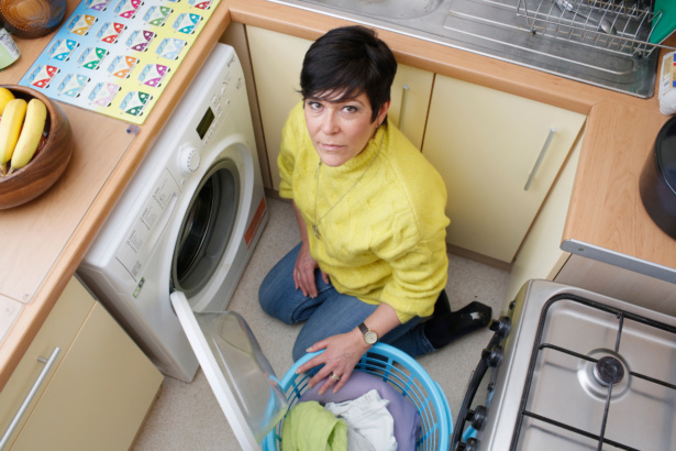 Fiona Thompson with her recalled Whirlpool washing machine