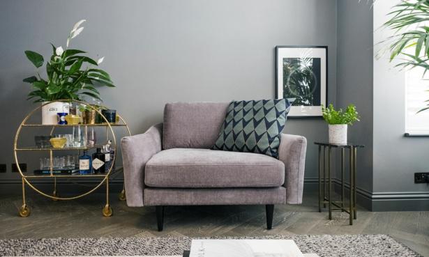 Grey small sofa armchair