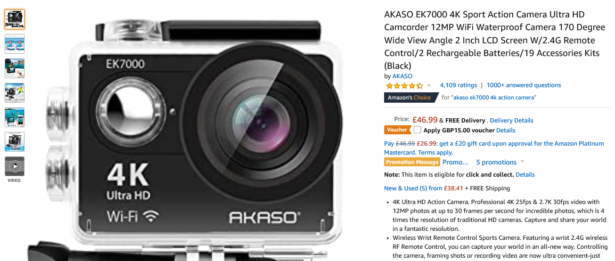Amazon AKASO action camera