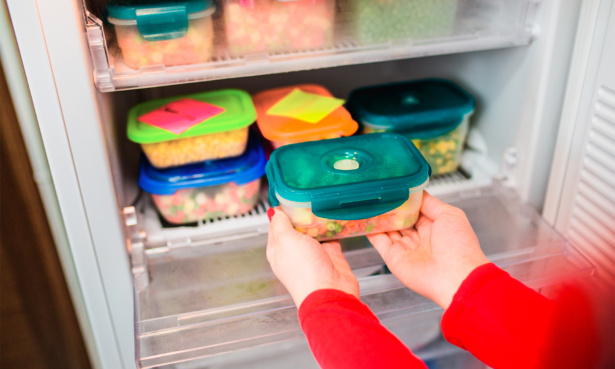 Putting food into a freezer