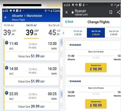 Ryanair rebooking fare screen