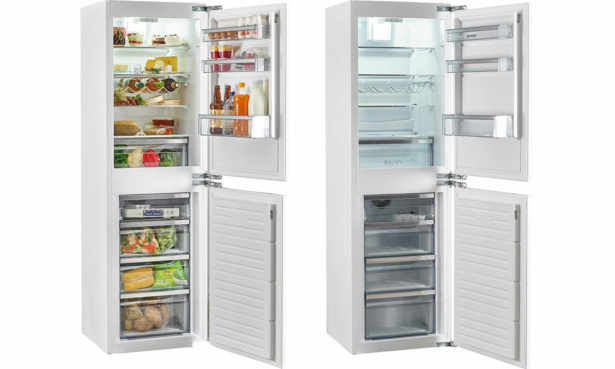 A Sharp fridge freezer full of food next to the same fridge freezer empty of food