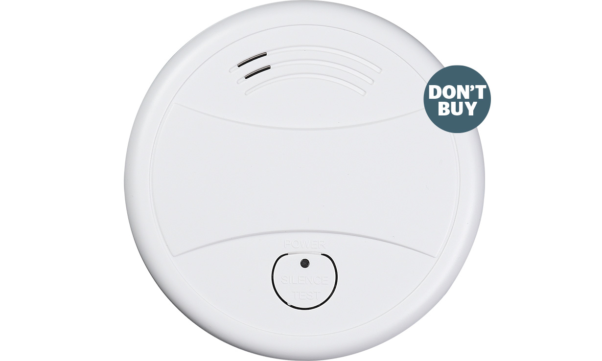 A recently tested white and round smoke alarm which failed to sound in seven out of eight smoke detection tests.