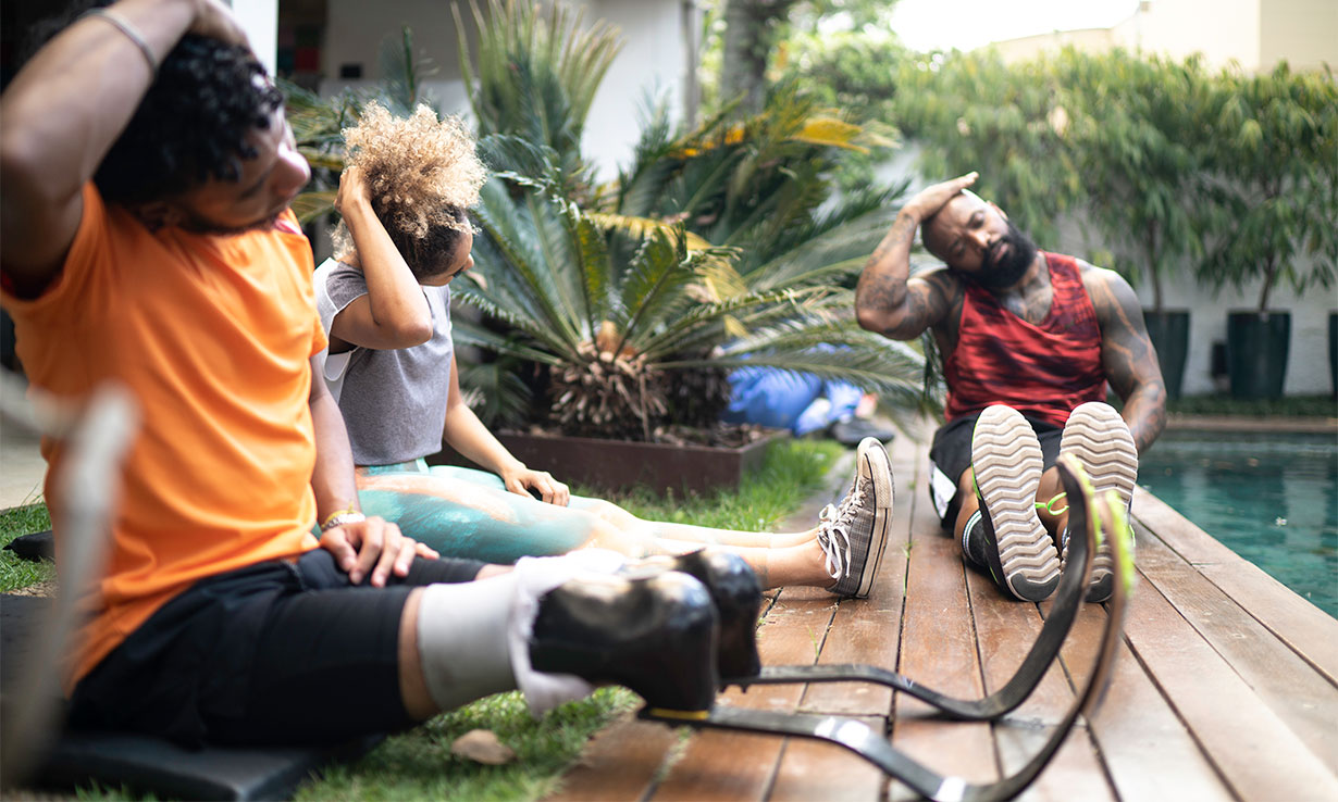 Family working out in garden